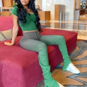 Lovely Casual Gradual Change Green Two-piece Pants Set