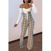 Lovely Sweet Lace-up Grid Print Khaki Two-piece Pants Set