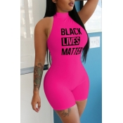 lovely Leisure Letter Print Rose Red One-piece Rom