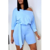 lovely Leisure Lace-up Baby Blue One-piece Romper
