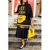lovely Street Letter Print Patchwork Yellow Mid Ca