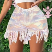 lovely Stylish Tie-dye Tassel Design Pink Denim Sh