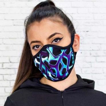 Lovely Stylish Print Blue Face Mask
