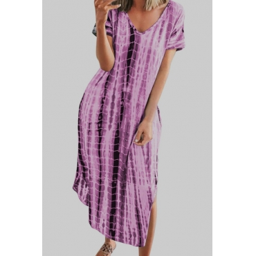 lovely Casual V Neck Tie-dye Purple Ankle Length Plus Size Dress
