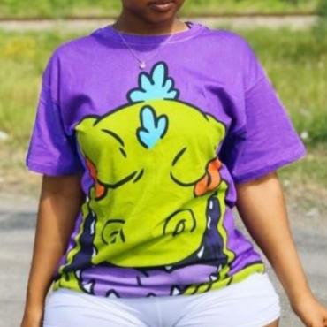 Lovely Stylish Cartoon Print Purple Two-piece Shorts Set