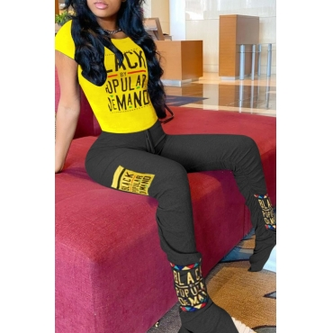 lovely Casual Letter Print Yellow Two-piece Pants Set