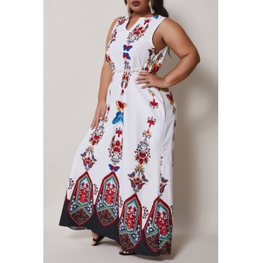 lovely Casual Spaghetti Strap Print White Ankle Length A Line Plus Size Dress