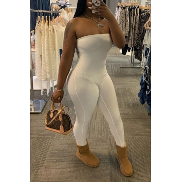 lovely Leisure Off The Shoulder White One-piece Jumpsuit