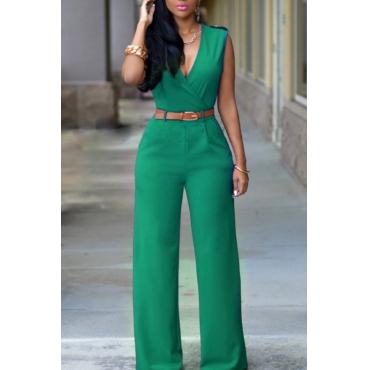 lovely Stylish V Neck Green One-piece Jumpsuit(Without Belt)