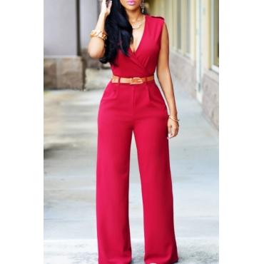 lovely Stylish V Neck Red One-piece Jumpsuit(Without Belt)
