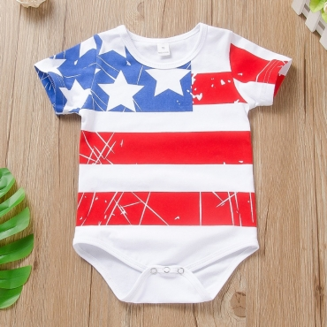 lovely Independence Day Casual Print White Boy One-piece Romper