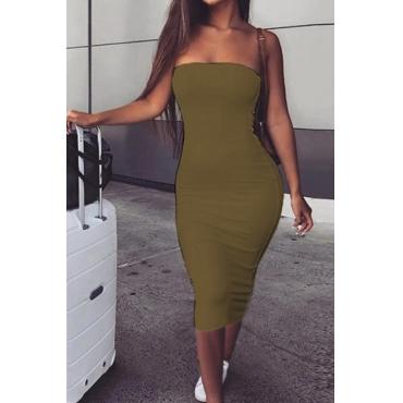 Lovely Trendy Dew Shoulder Khaki Knee Length Dress