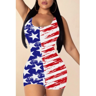 lovely Independence Day Casual Print Red One-piece Romper