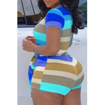 Lovely Trendy Striped Blue Plus Size One-piece Romper