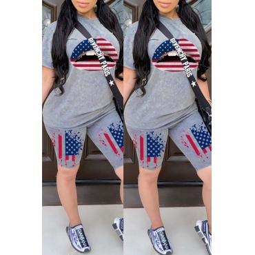 lovely Leisure Lip Print Grey Two-piece Shorts Set