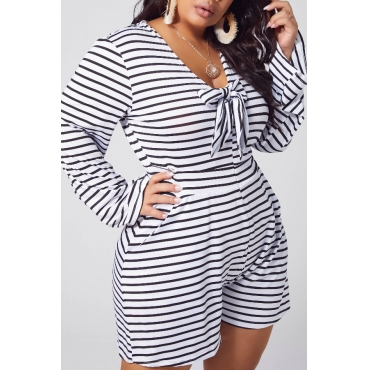 lovely Casual Striped Print Black Plus Size One-piece Romper