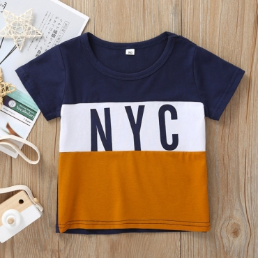 lovely Casual Letter Print Patchwork Dark Blue Boy T-shirt