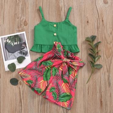 lovely Trendy Plants Print Green Girl Two-piece Skirt Set