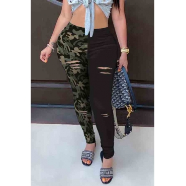 lovely Stylish Camo Print Patchwork Army Green Pants