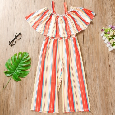 lovely Trendy Striped Red Girl One-piece Jumpsuit