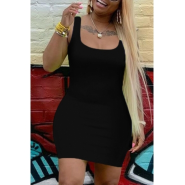 lovely Casual U Neck Black Mini Dress