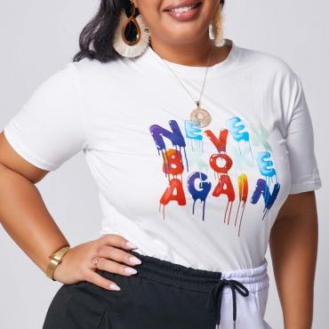 lovely Leisure O Neck Letter Print White Plus Size T-shirt