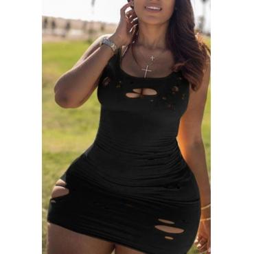 Lovely Casual Broken Holes Black Mini Plus Size Dress
