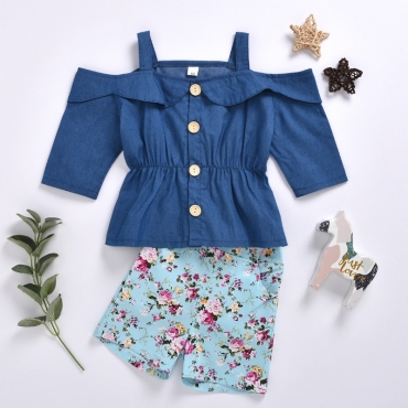 lovely Sweet Print Hollow-out Baby Blue Girl Two-piece Shorts Set
