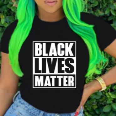 Lovely Casual O Neck Letter Print Black T-shirt