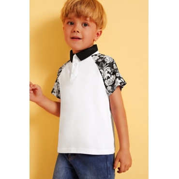 lovely Casual Patchwork White Boy T-shirt