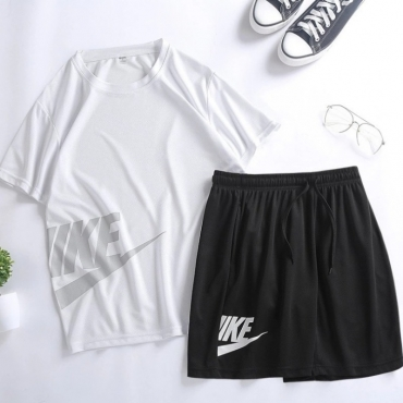 Lovely Sportswear Letter White Two-piece Shorts Set