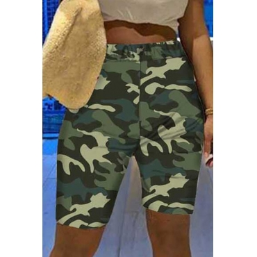 Lovely Casual Camo Print Army GreenShorts