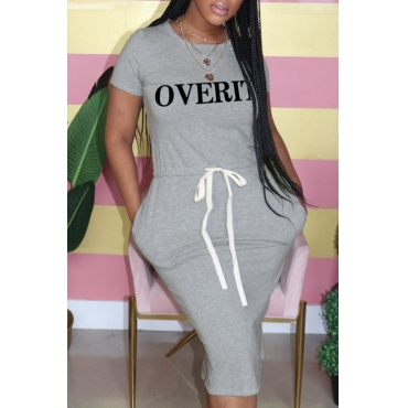 lovely Casual Letter Print Grey Knee Length Plus Size Dress