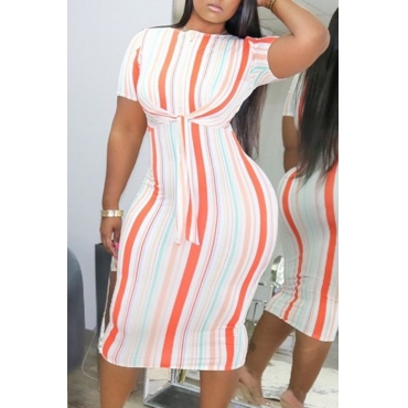 lovely Casual O Neck Striped Red Mid Calf Dress