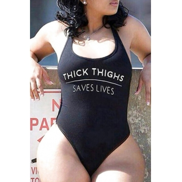 Lovely Letter Black One-piece Swimsuit