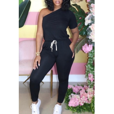 Lovely Casual One Shoulder Lace-up Black One-piece Jumpsuit