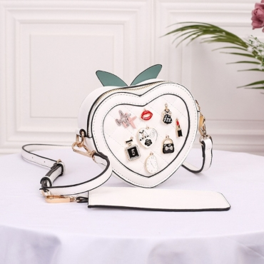 lovely Chic Heart White Crossbody Bag
