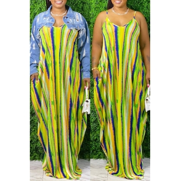 Lovely Bohemian Striped Print Yellow Maxi Dress
