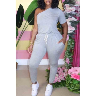 lovely Casual One Shoulder Lace-up Grey Plus Size One-piece Jumpsuit