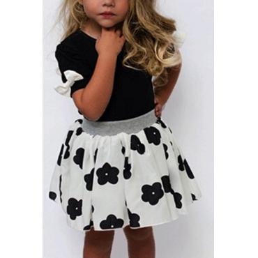 lovely Sweet O Neck Print Black Girl Two-piece Skirt Set