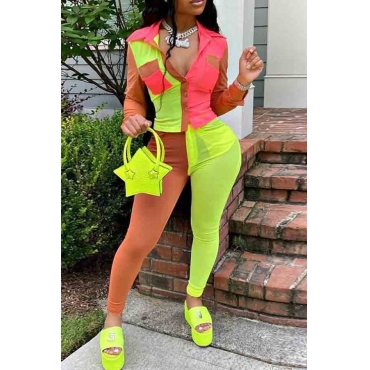 Lovely Street Color-lump Patchwork Green Two-piece Pants Set