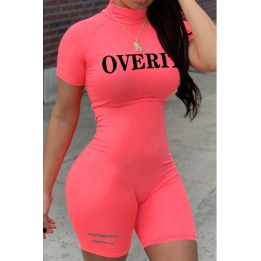 lovely Leisure Letter Print Pink One-piece Romper