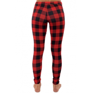 lovely Casual Grid Print Red Pants