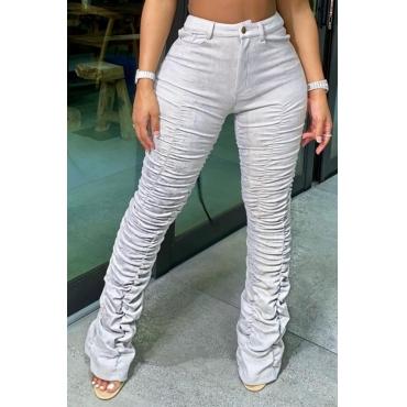 lovely Leisure Fold Design Grey Pants