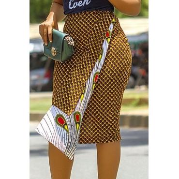 Lovely Stylish Print Yellow Skirt