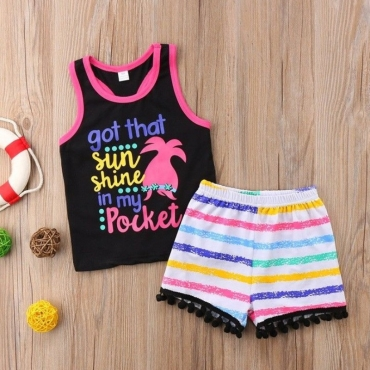 lovely Casual Letter Print Black Girl Two-piece Shorts Set