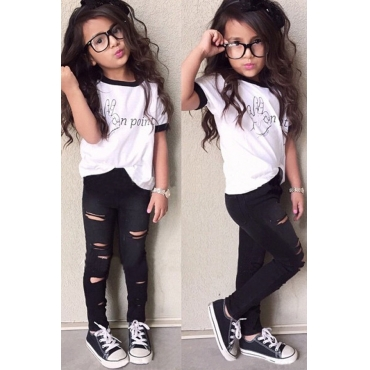 lovely Casual Letter Print White Girl Two-piece Pants Set