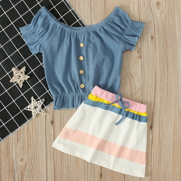 lovely Casual Buttons Design Blue Girl Two-piece Skirt Set