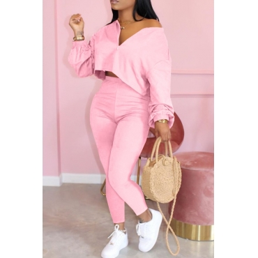 Lovely Casual Zipper Design Pink Two-piece Pants Set