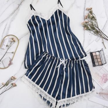 lovely Sexy Striped Blue Sleepwear